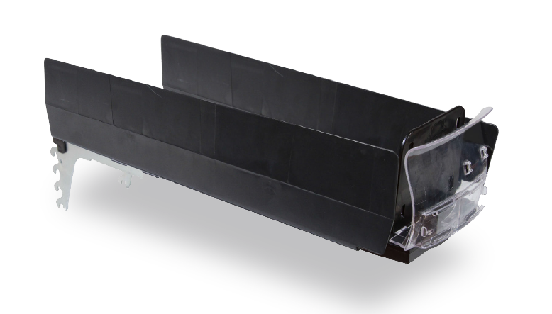 Right front side view of black SpaceGrid HiGlide pusher tray system