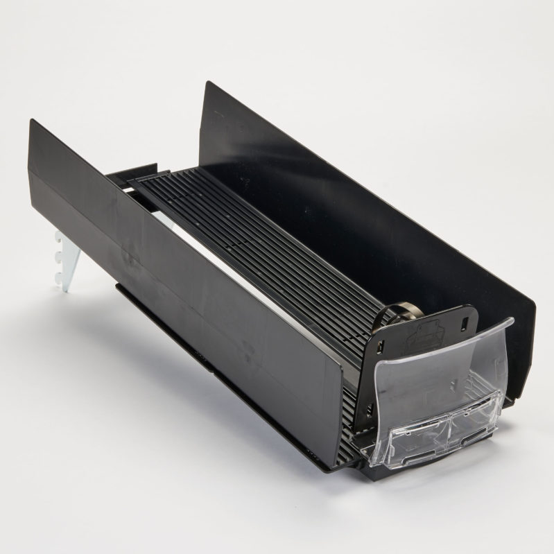 Top right angle view of black SpaceGrid HiGlide pusher tray system